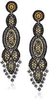 Miguel Ases Black Quartz Slender Oval Drop Earrings