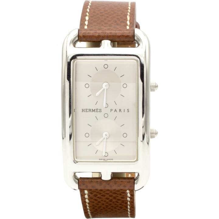 Hermes Cape Cod Dual Time Silver Steel Watches