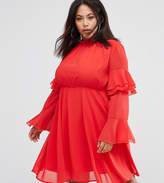Club L Plus High Neck Detailed Tiered Arm Dress