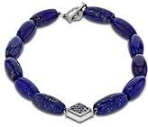 Luis Morais 14ct White Gold Rhombus with Sapphires on Lapis Bead Clasp Bracelet