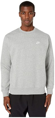 Nike NSW Club Crew (Dark Grey Heather/White) Men's Clothing