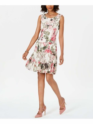 Connected Apparel Womens White Lace Floral Sleeveless Jewel Neck Above The Knee Fit + Flare Party Dress UK Size:14