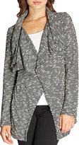 Bobeau Shawl-Collar Textured Herringbone Jacket, Black