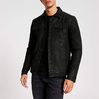 River Island Mens Only & Sons Black leather button jacket