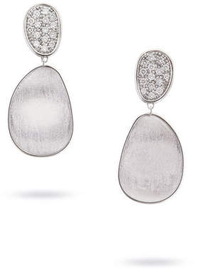 Marco Bicego Lunaria Double-Drop Diamond Earrings in 18K White Gold