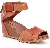 Sorel Joanie Leather Banded Ankle Strap Wedge Sandals