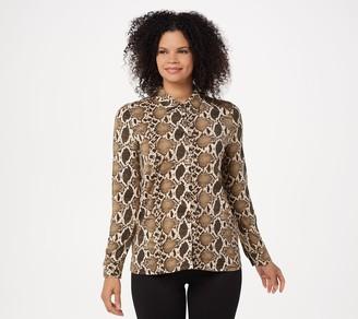 BROOKE SHIELDS Timeless Button Front Knit Shirt