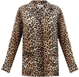 Ganni Leopard-print Silk-blend Shirt - Leopard
