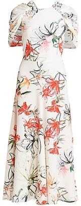 Alexander McQueen Endangered Floral Silk Cape-Sleeve Midi Dress