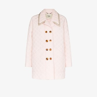 Fendi Womens Pink Quilted Double-breasted Coat