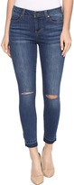 Liverpool Avery Crop with Released Hem and Slit Knee on Vintage Super Comfort Stretch Denim in Edison Blue Destruct