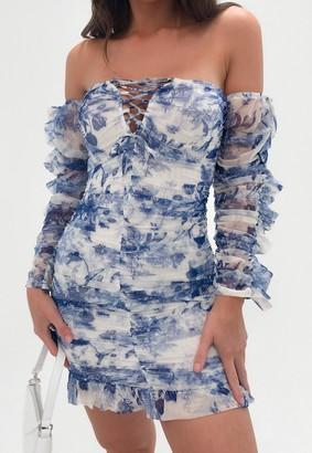 Missguided Blue Porcelain Print Mesh Ruched Mini Dress