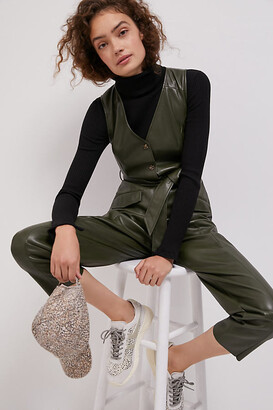 AVEC LES FILLES Adrian Faux Leather Jumpsuit By in Green Size XS