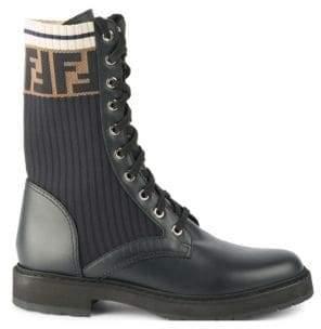 Fendi Rockoko Leather and Knit Combat Boots