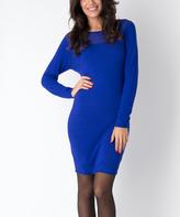 Yuka Paris Blue Boatneck Sheath Dress