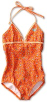 Roxy Kids - Sand Blossom Tiki One Piece (Big Kids) (Bondi Orange) - Apparel