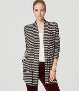 LOFT Striped Shirttail Open Cardigan