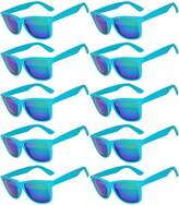 OWL Wholesale of 10 Pairs Mirrored Reflective Blue Lens Sunglasses Turquosi Matte Frame Horn Rimmed Style