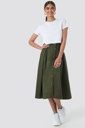 NA-KD Cargo A-line Ankle Skirt Green