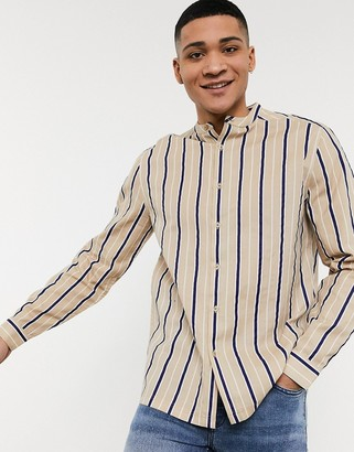 ASOS DESIGN relaxed fit grandad collar stripe shirt in beige