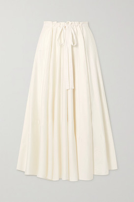 Cult Gaia Sistra Belted Pleated Stretch-cotton Satin Midi Skirt - Ivory