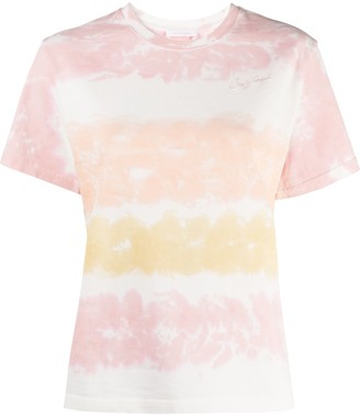 See by Chloe Logo-Embroidered Tie-Dye T-Shirt