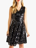 Yumi Embellished Cluster Sequin Party Dress, Black