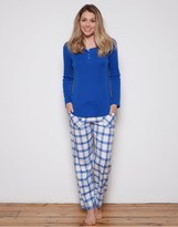 Cyberjammies Maya Blue Knit Top And Check Trousers