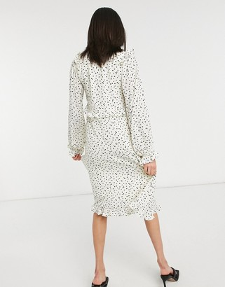 Lost Ink midi tea dress with ruffle trim in scattered dots
