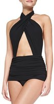 Norma Kamali Cross Halter Mio Swimsuit, Black
