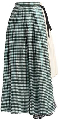 Toga Gingham Pleated Cotton-blend Skirt - Green White