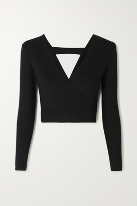 YEAR OF OURS Diana Cropped Ribbed Stretch-knit Top - Black