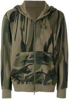 MHI camouflage print zip up hoodie