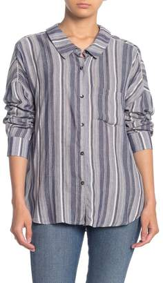 Splendid Button Front Tie Back Stripe Shirt