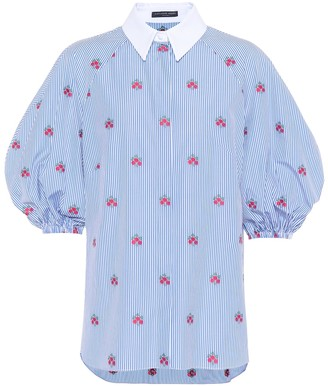Alexander McQueen Floral-embroidered cotton blouse