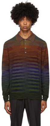 Missoni Green Knit Striped Long Sleeve Polo