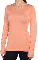 Nike Women's Dri-Fit Knit Long Sleeve Running Shirt-Peach-Medium