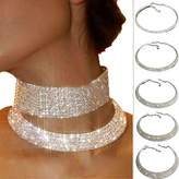 ZeHui Clear Elastic Flexing Rhinestone Choker Necklace Jewelry for Women Silver