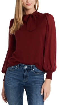 CeCe Mixed-Media Bow Sweater