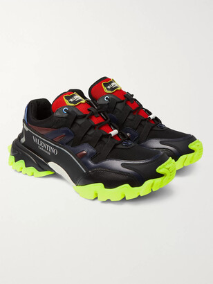 Valentino Climbers Mesh, Leather And Rubber Sneakers
