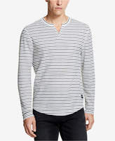 DKNY Men's Waffle-Knit Striped Split-Neck T-Shirt