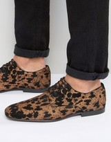 Asos Lace Up Shoes In Leopard Print Suede