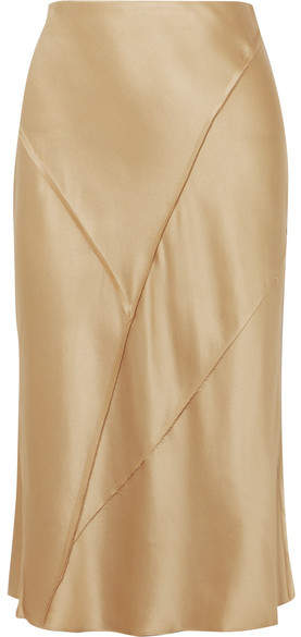 Vince Paneled Silk-satin Midi Skirt - Gold