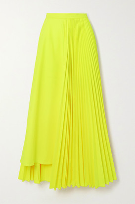 Christopher John Rogers Neon Asymmetric Pleated Poplin Skirt - Lime green