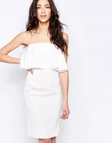 Glamorous Bandeau Dress With Frill Overlay
