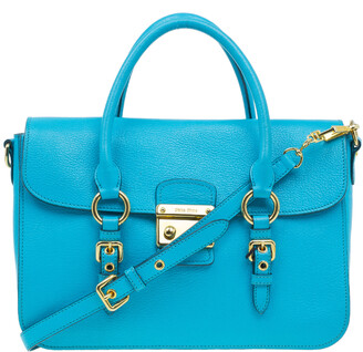 Miu Miu Turquoise Blue Leather Large Madras Flap Satchel Bag