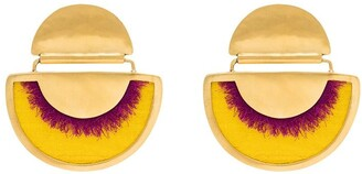 Katerina Makriyianni yellow 24K gold-plated fringed silk earrings