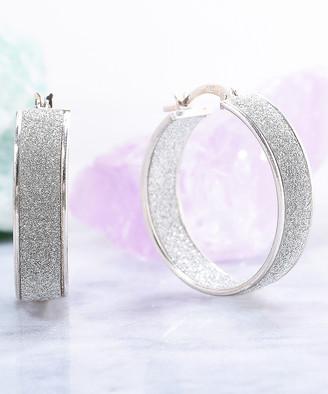 Golden Moon Women's Earrings Silver - Sterling Silver Glitter Hoop Earrings