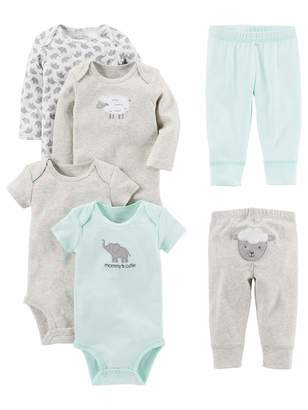 Carter's Simple Joys By Simple Joys by Baby 6-Piece Neutral Bodysuits (Short and Long Sleeve) and Pants Set