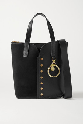 See by Chloe Gaia Mini Studded Leather And Suede Tote - Black